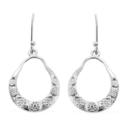 Vicenza Collection Rhodium Plated Sterling Silver Hook Earrings, Silver wt. 4.61 Gms.