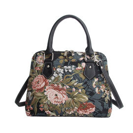 SIGNARE - Tapestry Convertible Shoulder Bag with Removable Strap in Peony Design (36 x 23 x 12.5 cms