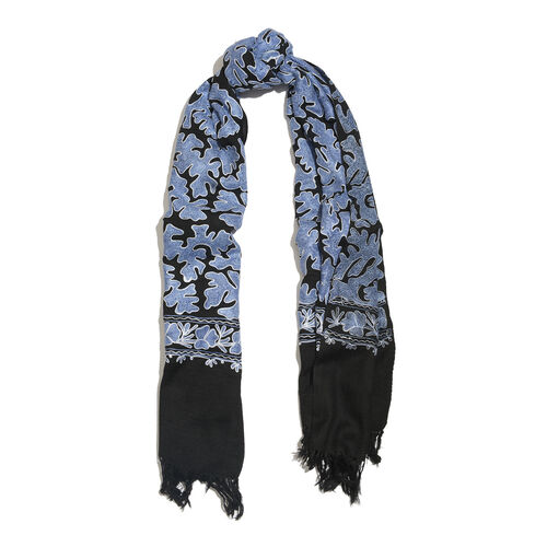 Very Limited Edition 100% Merino Wool Black, White and Blue Colour Hand Embroidered Scarf with Tassels (Size 190x70 Cm)