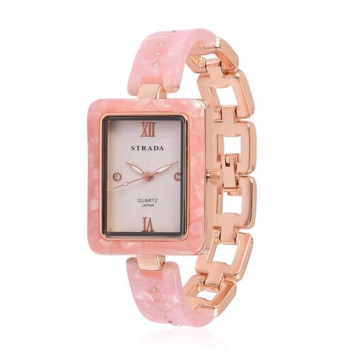 STRADA Japanese Movement White Austrian Crystal Studded Dial Watch in Rose Gold Tone with Pink Colour Strap