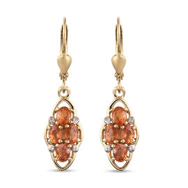 Orange Sapphire and Natural Cambodian Zircon Lever Back Earrings in Yellow Gold Overlay Sterling Sil