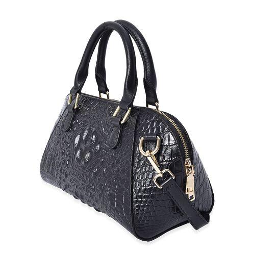 100% Genuine Leather Croc Embossed Tote Bag (Size 29x20x9.5 Cm)  - Black