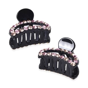 Set of 2 - Crystal Studded Small Hair Claw Clip - Champagne and Light Pink