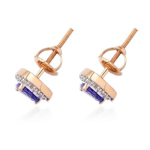 ILIANA 18K Yellow Gold AAA Tanzanite and Diamond Halo Stud Earrings (with Screw Back) 1.10 Ct.