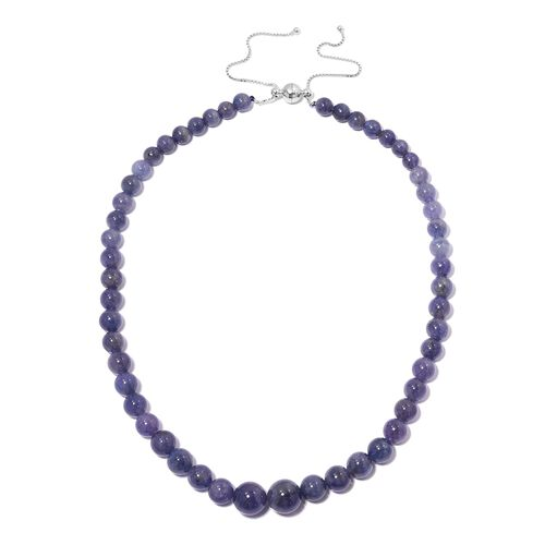 272 Ct Tanzanite Beaded Necklace in Rhodium Plated Sterling Silver