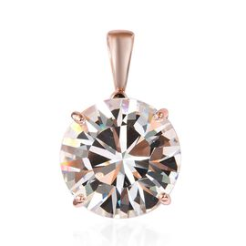 J Francis White Crystal from Swarovski Solitaire Pendant in Rose Gold Plated