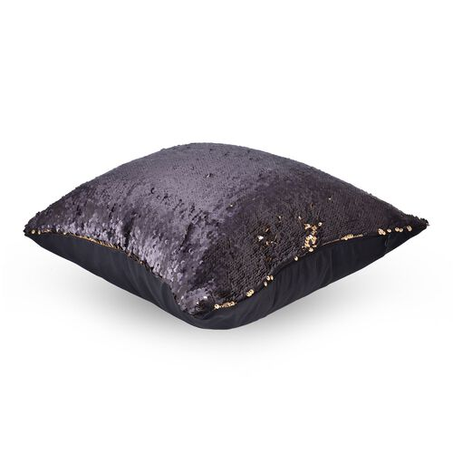 Set Of 2 - Two Tone Cushion Colour Change Golden and Black Cover with Sequins at Frontside (Size 40X40 Cm)