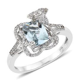 2.25 Ct Rare Size Espirito Santo Aquamarine and Zircon classic Ring in Platinum Plated Silver