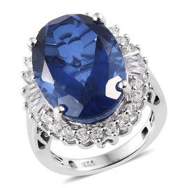 Preview Auction- Ceylon Colour Quartz (Ovl 14.00 Ct), Natural White Cambodian Zircon Ring in Platinu