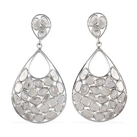Artisan Crafted Polki Diamond Teardrop Earrings (with Push Back) in Platinum Overlay Sterling Silver