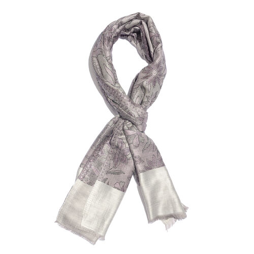 100% Modal Reversible Grey, Off White and Multi Colour Flower and Leaves Pattern Jacquard Scarf (Siz
