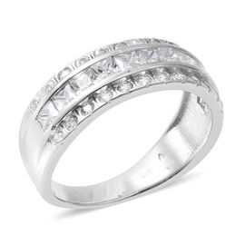ELANZA Simulated Diamond (Sqr) Half Eternity Ring in Rhodium Overlay Sterling Silver