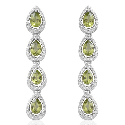 Hebei Peridot (Pear) Falling Drops Earrings (with Push Back) in Rhodium Plated Sterling Silver 5.760