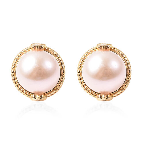 Edison Pearl and Diamond Stud Earrings in Yellow Gold Overlay Sterling Silver