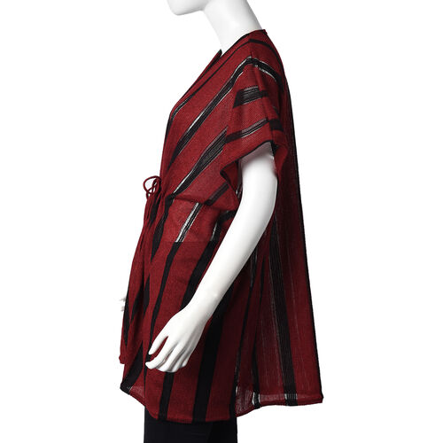 Stripe Pattern Poncho (One Size Fits All; 75x80 Cm) - Red and Black