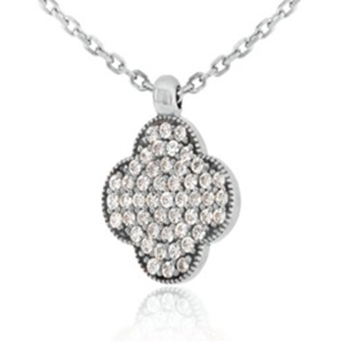 Cubic Zirconia Floral Pendant with Chain in Sterling Silver 16 with 2 inch Extender