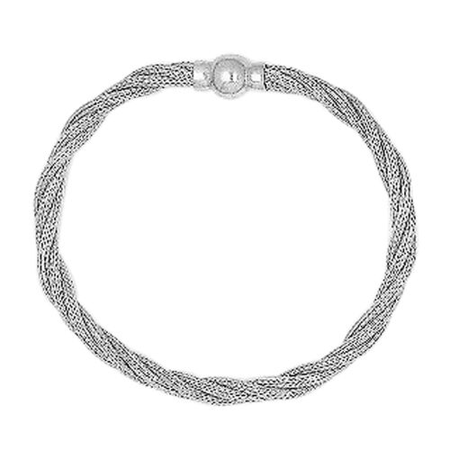 Vicenza Collection Rhodium Plated Sterling Silver Twisted Mesh Bracelet (Size 8) with Magnetic Clasp