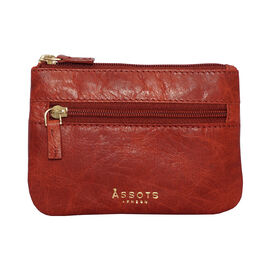 Assots London Mary 100% Genuine Leather Zip Top Coin Purse in Red (Size 12.5x8.5cm)