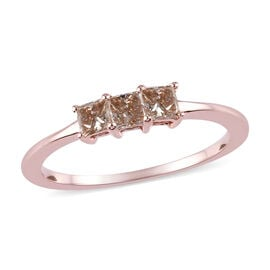 9K Rose Gold SGL Certified Champagne Diamond (I3) 3-Stone Ring 0.50 Ct.
