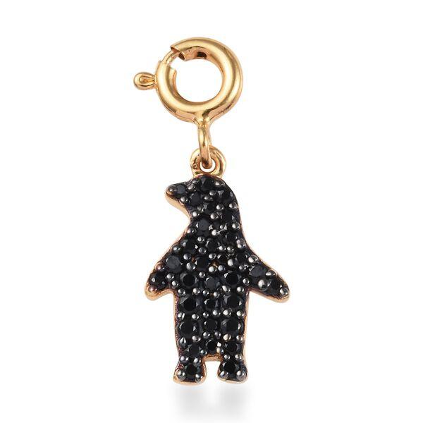 Boi Ploi Black Spinel (Rnd) Penguin Charm in 14K Gold Overlay Sterling Silver 0.50 Ct.