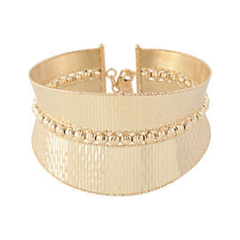 JCK Vegas Collection- Italian Made 9K Yellow Gold Diamond Cut Bangle (Size 7 with 1 inch Extender),
