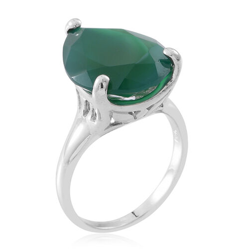 Verde Onyx (Pear) Ring in Rhodium Plated Sterling Silver 11.250 Ct. Silver wt 5.50 Gms.
