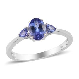 9K White Gold AA Tanzanite Ring 1.00 Ct.