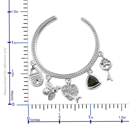 GP Russian Diopside (Trl), Kanchanaburi Blue Sapphire and Multi Gemstone J Hoop Earrings (with Push Back) with Multi Charms in Platinum Overlay Sterling Silver 1.250 Ct. Silver wt 9.21 Gms.