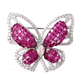 Lustro Stella Simulated Ruby and Simulated Diamond Butterfly Brooch in Rhodium Overlay Sterling Silv