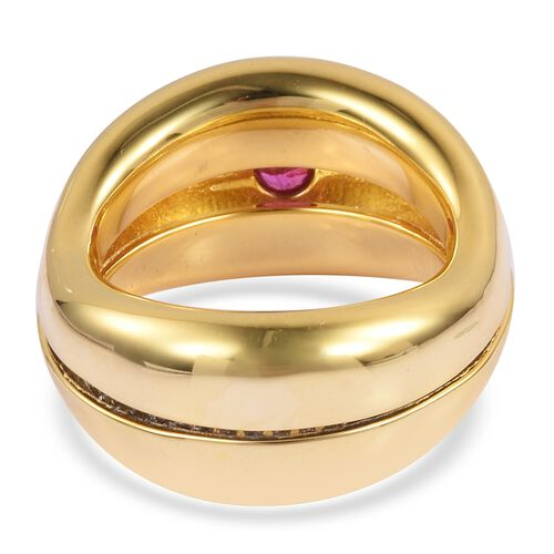 Brand New Concept - Burmese Ruby (Rnd), Natural White Cambodian Zircon Ring in Yellow Gold Overlay Sterling Silver 0.900 Ct. Silver wt 11.20 Gms. Number of Gemstone 104