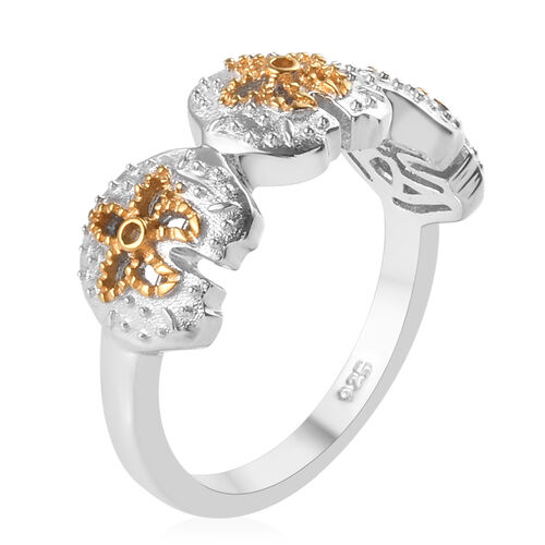 Platinum and Yellow Gold Overlay Sterling Silver Ring, Silver wt 3.40 Gms