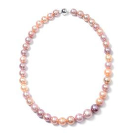Multi Colour Edison Pearl Beaded Necklace with Magnetic Lock in Rhodium Plated Silver 20 Inch