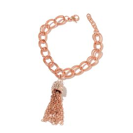 White Austrian Crystal Double Curb Tassels Bracelet (Size 8.5) in ION Plated Rose Gold Stainless Steel