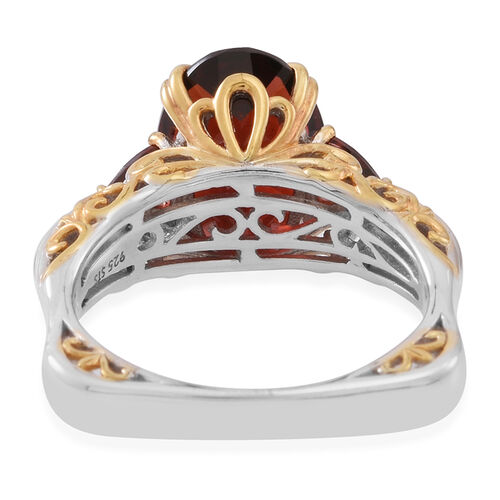 Limited Edition- Very Rare Size Mozambique Garnet (Ovl 6.40 Ct) Ring in Rhodium Plated and Yellow Gold Overlay Sterling Silver 7.000 Ct. Silver wt 5.40 Gms.