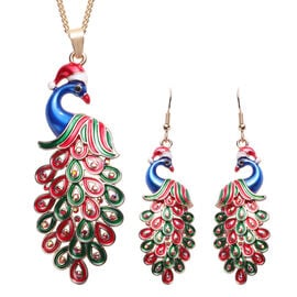 3 Piece Set - Red and Black Austrian Crystal Enamelled Peacock Pendant with Chain (Size 28 with 2 In