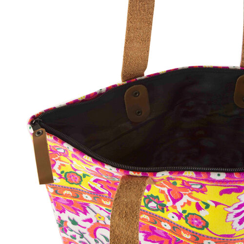 Floral Pattern Embroidery Bag (Size 30x10x42 Cm) with Zip Closure - White and Multi Neon Colour