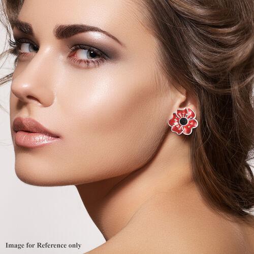 TJC Poppy Design - Black Austrian Crystal Enamelled Poppy Stud Earrings (with Push Back) in Silver Tone