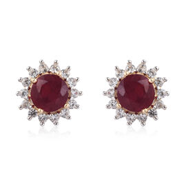 9K Yellow Gold AAA African Ruby (Rnd), Natural Cambodian Zircon Halo Stud Earrings (with Push Back)