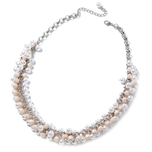 Shell Pearl (Rnd), Simulated Morganite Beads Necklace (Size 20) in Silver Plated