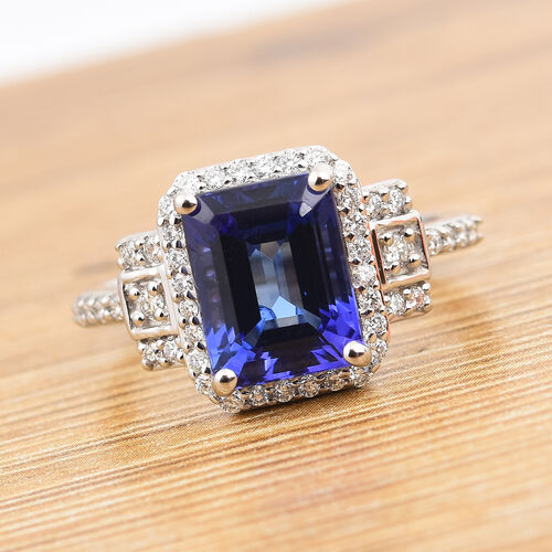 RHAPSODY 950 Platinum AAAA Tanzanite and Diamond (VS/F) Ring 3.00 Ct, Platinum wt. 6.38 Gms