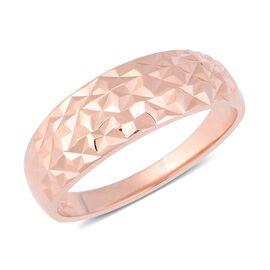 Designer Inspired- Rose Gold Overlay Sterling Silver Diamond Cut Ring (Size R)