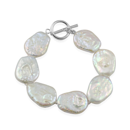 White Baroque Pearl Coin Beaded Bracelet in Rhodium Plated Sterling Silver 7 Inch