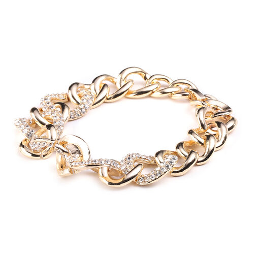 White Austrian Crystal Curb Bracelet (Size 7.5) in Yellow Gold Tone