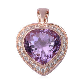 12.93 Ct Rose De France Amethyst and Zircon Halo Heart Pendant in Rose Gold Plated Sterling Silver