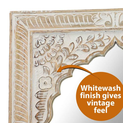NAKKASHI - Saharanpur Collection - Handmade and Hand Carved Wooden Mirror (Size 60x50x3.5 Cm)