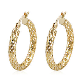 Royal Bali Collection - 9K Yellow Gold Diamond Cut Hoop Earrings (with Clasp)