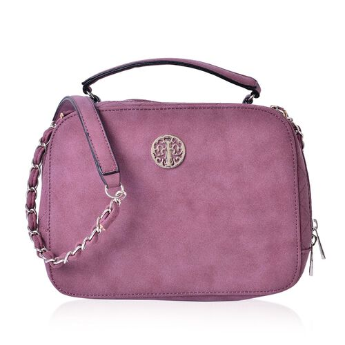 Purple Colour Crossbody Bag with Shoulder Strap (Size 23x17.5x8 Cm)