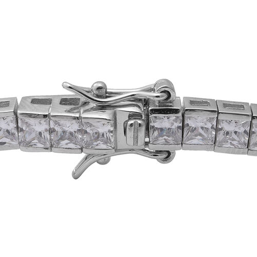ELANZA Simulated Diamond (Rnd) Bracelet (Size 7) in Rhodium Overlay Sterling Silver, Silver wt 13.20 Gms