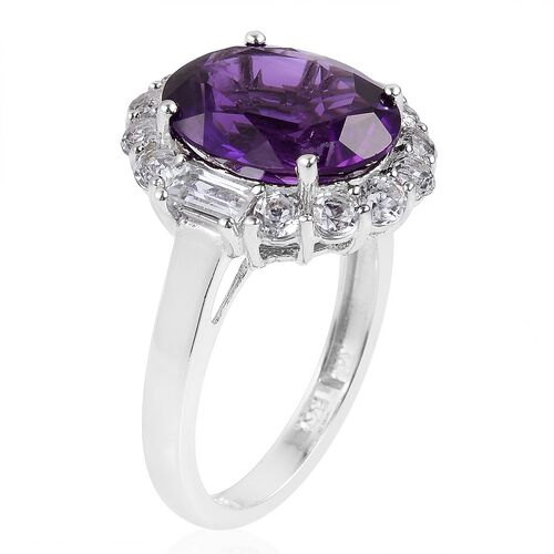 Lusaka Amethyst (Ovl 4.25 Ct), White Topaz Ring in Rhodium Plated Sterling Silver 5.700 Ct.