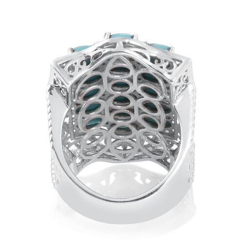 Turquoise (Ovl) Ring in Platinum Overlay Sterling Silver 7.250 Ct.